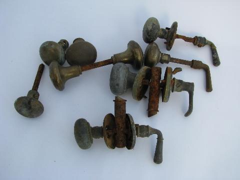 lot of old antique brass door knobs and handles, vintage ...