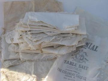 lot of old antique cotton sugar sacks & salt bags, vintage farm primitive fabric