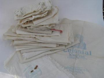 lot of old antique cotton tiny bags & sacks, vintage farm primitive fabric