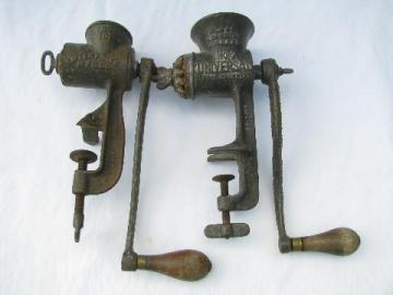 lot of old antique vintage cast iron food choppers meat grinders