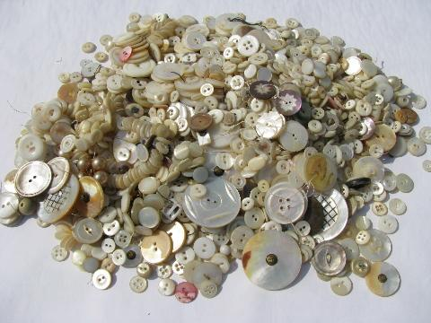 Lot Of Old Antique Vintage Mother Of Pearl Shell Buttons Tiny To