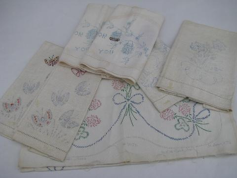 embroider, to linens towels, old embroider runner to vintage table stamped  lot runner table of