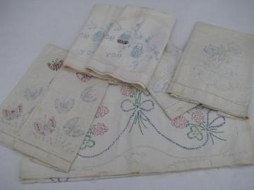 lot of old linens stamped to embroider, vintage towels, table runner