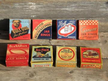lot of original old fruit jar rubber gaskets in boxes vintage graphics