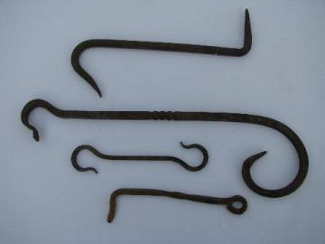lot of primitive hand forged wrought iron farm architectural and garden hardware hooks