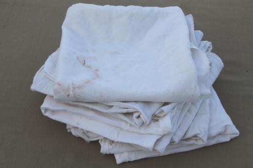 lot of primitive old cotton feed sacks w/ stitching, vintage flour sack fabric