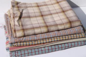 lot of retro 80s vintage shirting, wrinkle free poly blend plaid shirt fabric