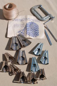 lot of rug making tools, cones & instruction leaflet to make braided rugs