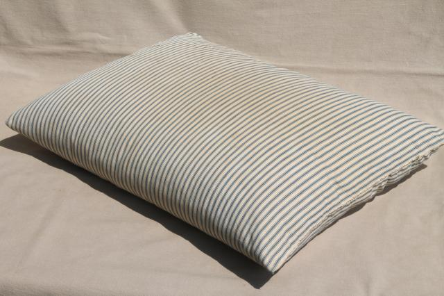 lot of shabby country feather pillows, primitive old blue stripe cotton ticking fabric