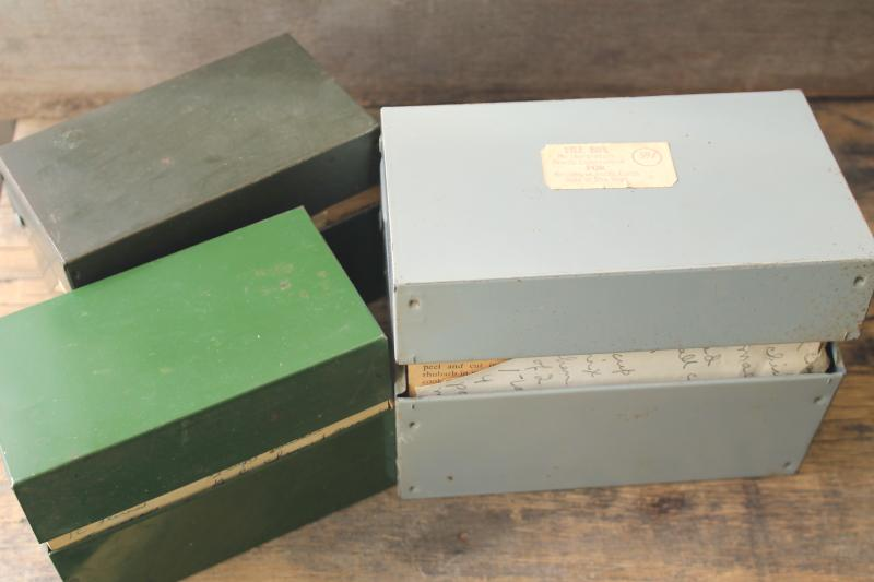 lot of three vintage recipe boxes stuffed full of old recipes, some hand written cards