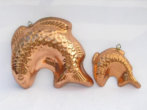 lot of tinned copper molds, french country kitchen style, fish & lobsters
