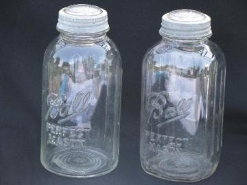 lot of two deco vintage 2 quart Ball mason jars w/zinc & glass lids