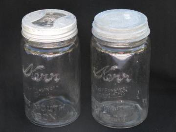 lot of two vintage 1quart Kerr wide-mouth mason jars