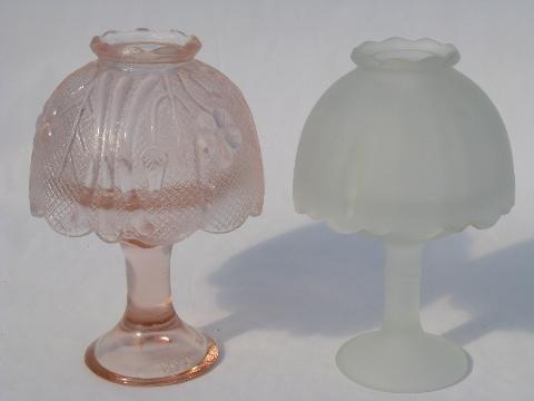 Fairy Lights Pink And Satin Glass, Vintage Pink Satin Glass Lamp