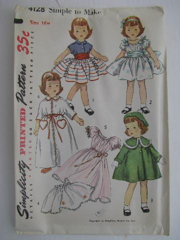 lot of vintage 1940\'s - 50\'s sewing patterns, doll clothes period ...