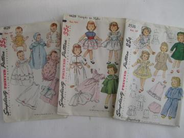 lot of vintage 1940's - 50's sewing patterns, doll clothes period fashion outfits