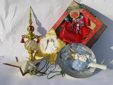 lot of vintage christmas decorations angel hair tree toppers bell lights etc