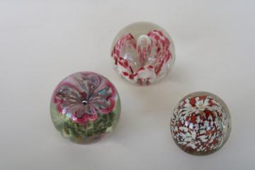lot of vintage art glass paperweights, murano style flowers & encased bubbles