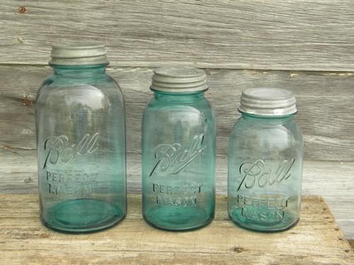 Lot Of Vintage Blue Glass Ball Mason Storage Jars Or