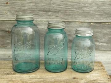 lot of vintage blue glass Ball mason storage jars or canisters 2 qt, 1.25 qt, 1qt
