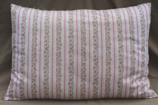 lot of vintage chicken feather pillows w/ pretty cotton ticking and flowered fabric