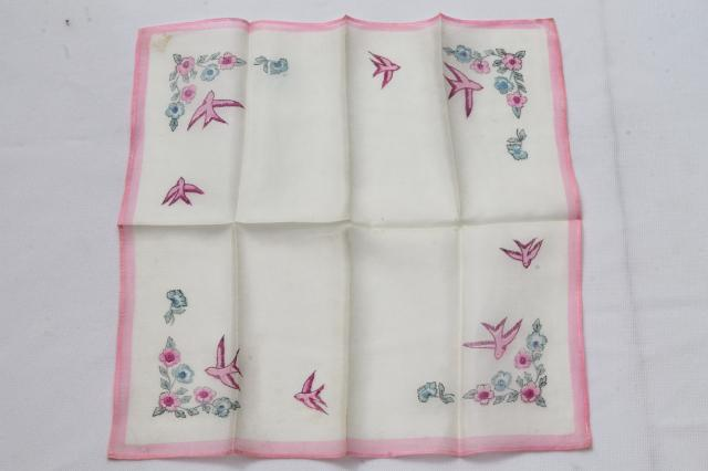 lot of vintage china silk fabric hankies & pocket square handkerchief