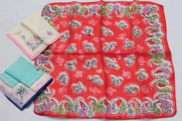 lot of vintage china silk fabric hankies & pocket square handkerchief