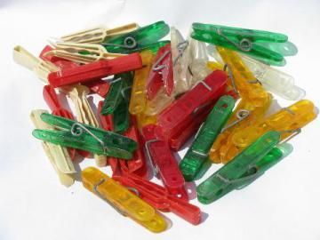 lot of vintage clothespins, red, yellow, green plastic