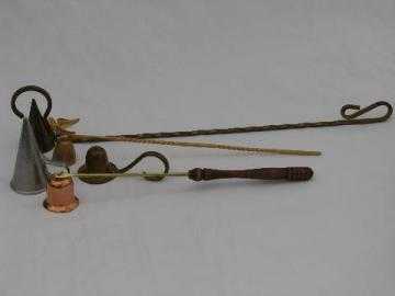 lot of vintage copper and brass candle snuffers