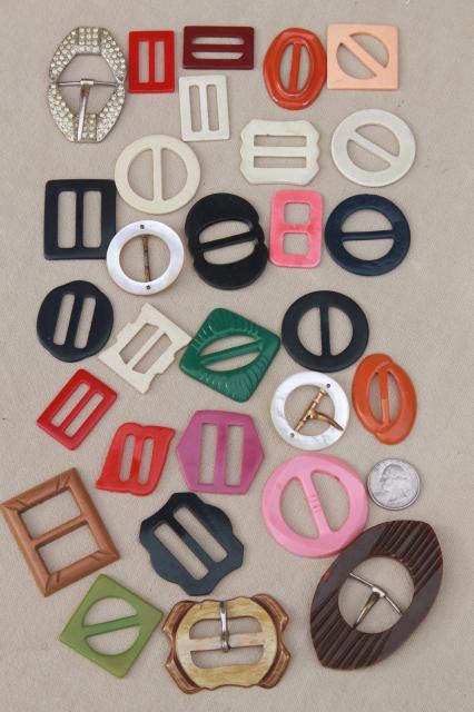 Lot Of Vintage Dress Belt Buckles Colored Bakelite