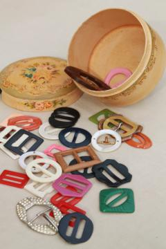 lot of vintage dress belt buckles, colored bakelite & plastic buckle sewing notions
