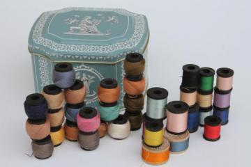 lot of vintage fine cotton & silk embroidery floss, tiny wood spools of thread in jewel colors
