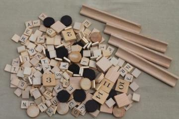 lot of vintage game pieces - wood scrabble letters, number tiles, checkers