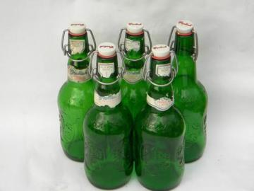 lot of vintage green glass Grolsch flip top beer bottles for homebrew