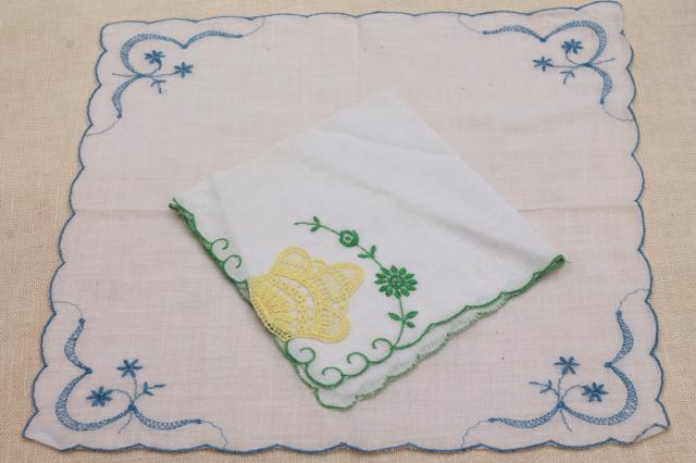 lot of vintage hankies w/ embroidery, Swiss embroidered & Madeira handkerchiefs