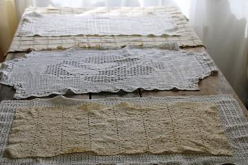 lot of vintage linens to upcycle, crochet lace table runners for sewing projects or crafts