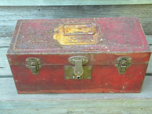 Farm Tool Box Organizer : Lot of vintage metal tool and storage boxes with shabby