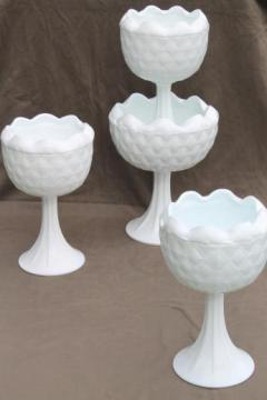 lot of vintage milk glass compotes, pinch glass bowls w/ tall pedestals