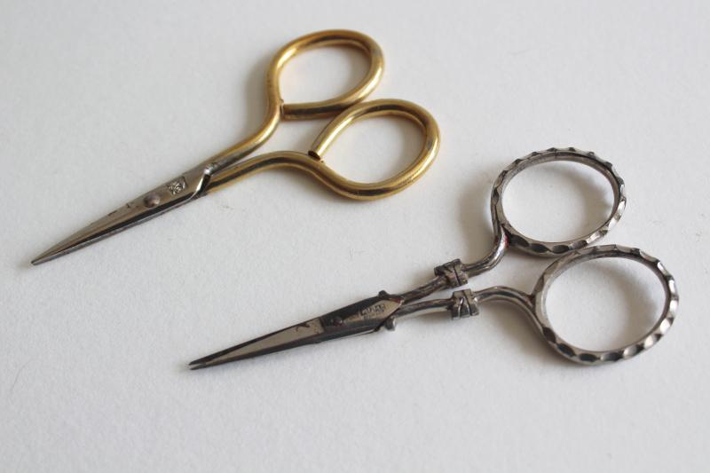 lot of vintage needlework embroidery scissors, collection of tiny scissors