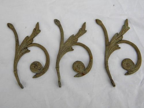 lot of vintage ornate brass chandelier prism arms/parts for restoration