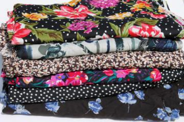 lot of vintage print rayon or blend silky fabric for scarves or shells, 12+ yds