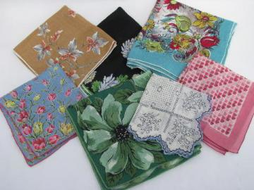 lot of vintage printed cotton hankies, flowers, floral and leaf prints