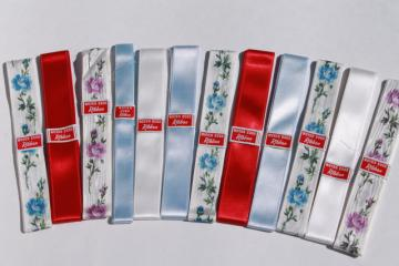 lot of vintage ribbons, woven edge satin ribbon, new old stock sewing notions trims