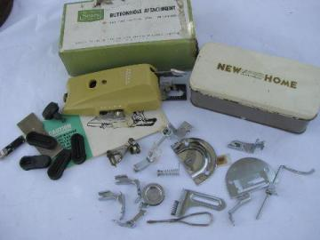 lot of vintage sewing machine parts, specialty presser feet, stitchplate buttonhole etc