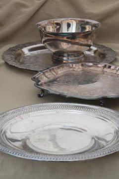 lot of vintage silver plate, trays & footed tray, Revere style bowl & underplate