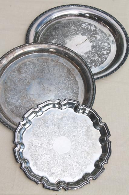 lot of vintage silver serving trays, round silverplated tray & charger plates