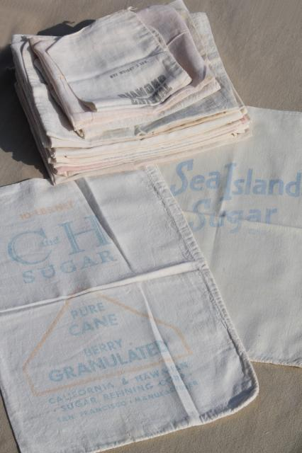 lot of vintage sugar sacks w/ printed advertising graphics, fine light cotton feedsack fabric