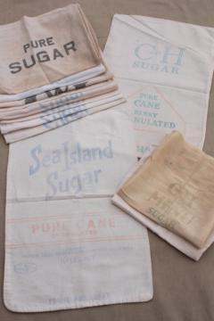 lot of vintage sugar sacks w/ printed advertising graphics, fine light cotton feedsack fabric