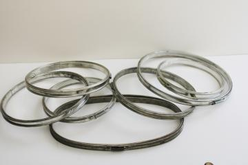 lot of vintage tin plated metal embroidery hoops, needlework frames round & oval