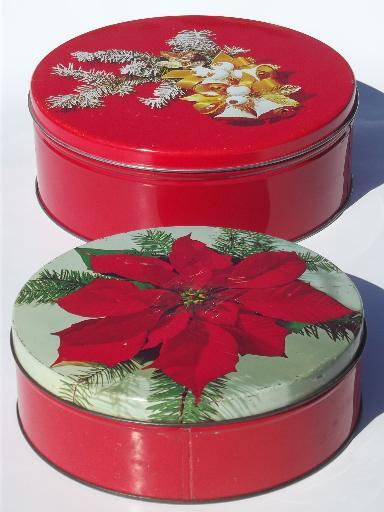 Lot of vintage tins old christmas litho print candy tins for Decorating tins for christmas